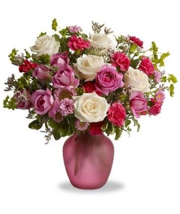 Baltų ir rožinių spalvų puokštė