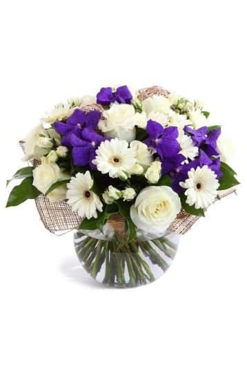 "Orchidėjos ""Vanda"", gerberos ir baltos rožės"
