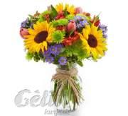 Gėlių puokštė su saulėgrąžomis
