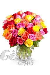 25 įvairių spalvų rožių puokštė