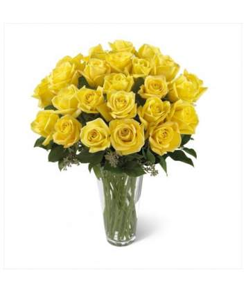 Geltonų rožių puokštė iš 21-os rožės