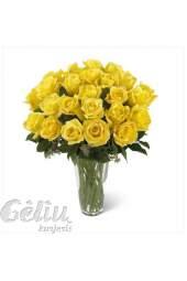 Geltonų rožių puokštė iš 21 rožės