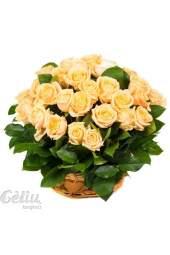 Kreminių rožių krepšys